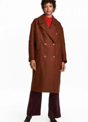 Оригинальное шерстяное пальто от бренда h&m разм. 42