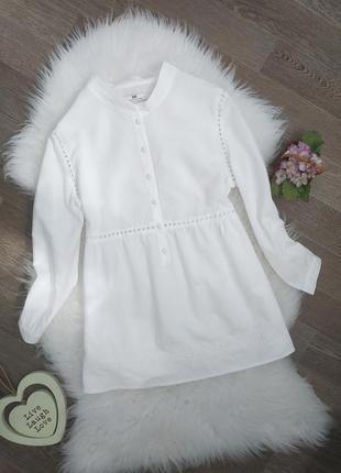 Хлопковая белая блуза/блузка с выбитыми цветами
