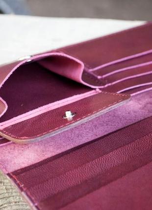 Кошелек женский кожаный длинный марсала бордо с орнаментом тиснение6 фото