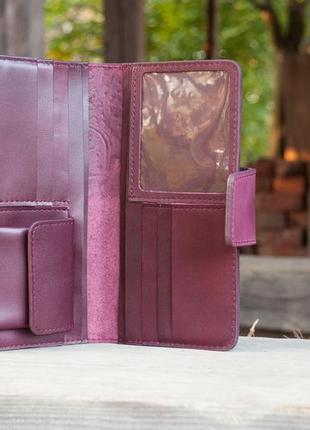 Кошелек женский кожаный длинный марсала бордо с орнаментом тиснение5 фото