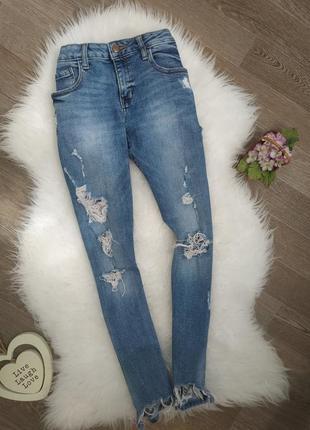 Рванные джинсы рванный низ denim go