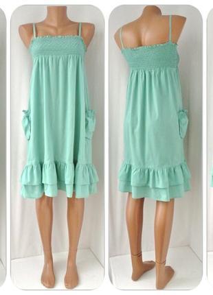 Модное мятное платье redoute на резинке. размер хs/s.