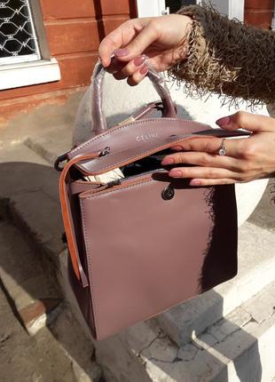 Женская кожаная сумка розовая рюкзак пудровый кожаный вместительный качественный стильный4 фото