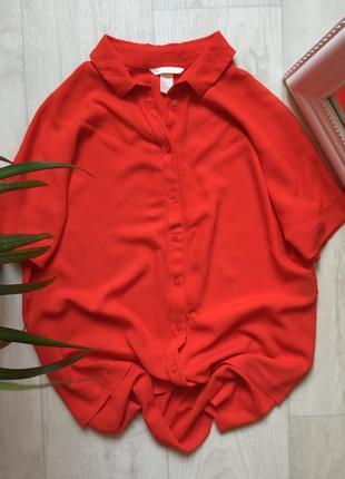 Красная рубашка свободного кроя h&m