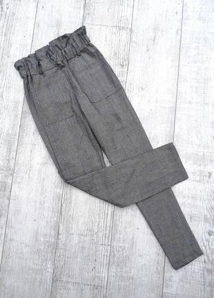 Шикарные серые брюки в мелкую клетку на худышку с высокой талией