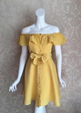 Zara летнее желтое льняное платье