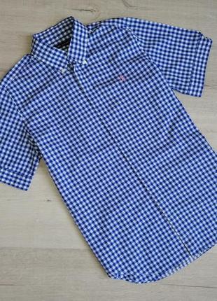 Шикарная хлопковая рубашка ralph loren в клетку