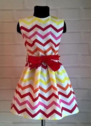 Платье для девочки. платье детское. принт зигзаг красный, 100% хлопок 110-140