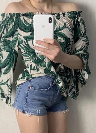 Шикарная летняя туника блуза с спущенными плечами
