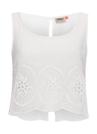 Белая шифоновая блуза топ с кружевом