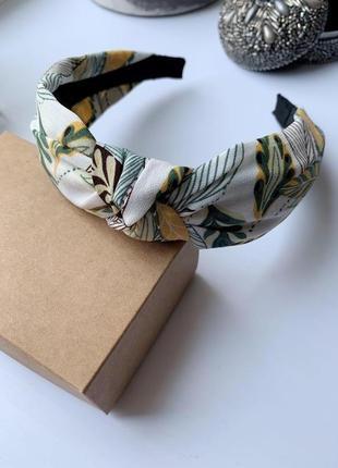 Ободок для волос нежный, красивый тканевый обруч флора