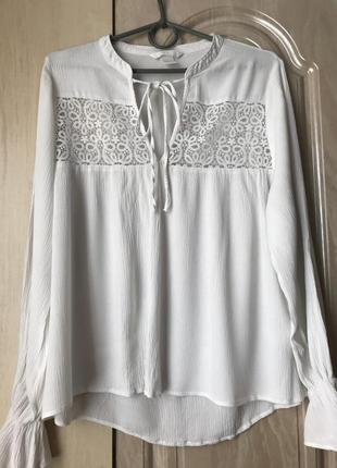 Нарядная блузка с кружевом от h&m размер s m