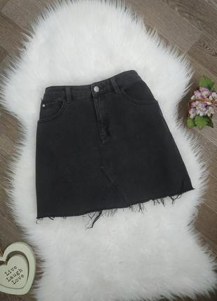 Черная джинсовая юбка мини с рванным краем denim go
