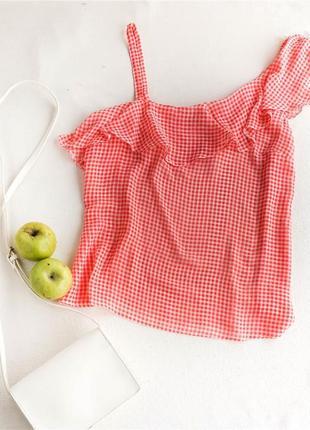 Шифоновая блуза в клетку на одно плече papaya