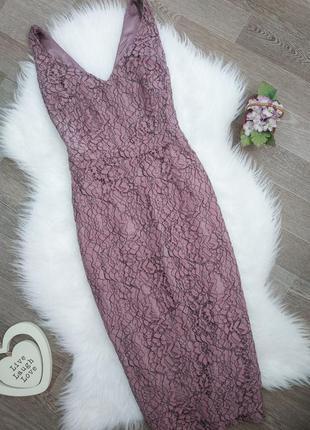 Кружевное светло-бордовое платье миди bravissimo