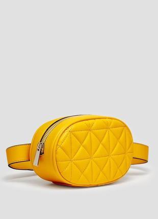 Обнова! сумка поясная овальная горчичная желтая эко-кожа качество бренд3 фото