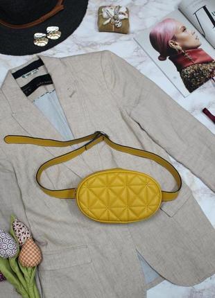Обнова! сумка поясная овальная горчичная желтая эко-кожа качество бренд6 фото