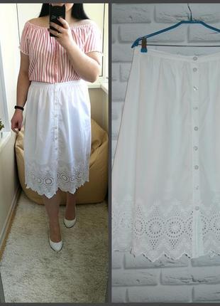 Очень красивая белая хлопковая юбка, р. 14, можно на больше.