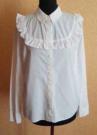 789472d2223 💋белая рубашка блуза с жабо h m(p.14)💋