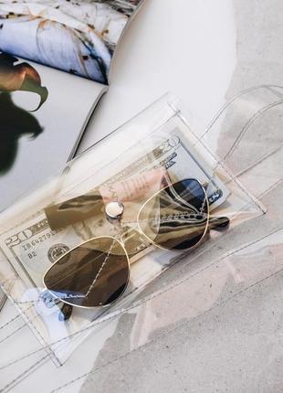 Прозрачная сумочка на пояс поясная сумка клатч конверт