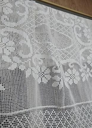 Большая прямоугольная белая вязаная скатерть 1.67*1.22