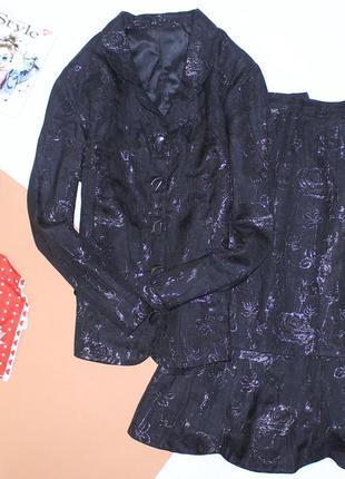 Костюм пиджак юбка большого размера люрекс цветы