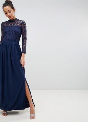 Кружевное платье макси с длинными рукавами club l