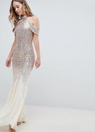 Шифоновое платье макси с пайетками city goddess