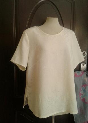 Шелковая бледно - лимонная блузка ,xl.