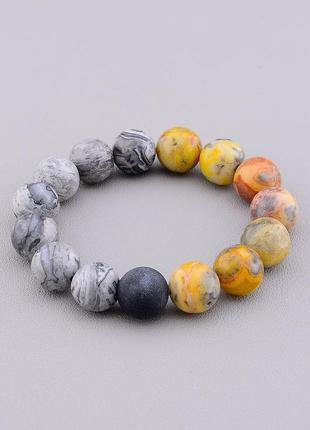 Браслет 'sunstones' яшма,шунгит 18 см.  0731560