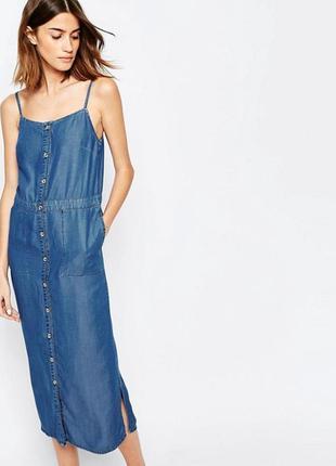 Классный джинсовый сарафан миди /платье на пуговицах