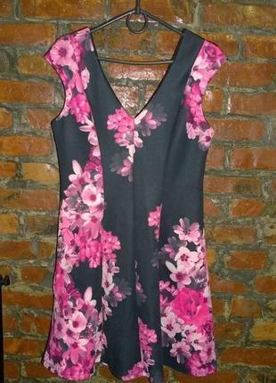 Платье из неопрена с цветочным принтом new look