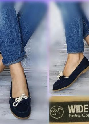 37р замша!новые wide fit extra comfort англия ,синие туфли лоферы,мокасины