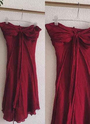 Натуральный шелк качество люкс крепдешин красивое вечернее платье цвета марсала красное