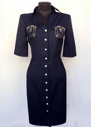 Суперцена. платье с вышитыми карманами, синее. турция. новое, р. 42-56