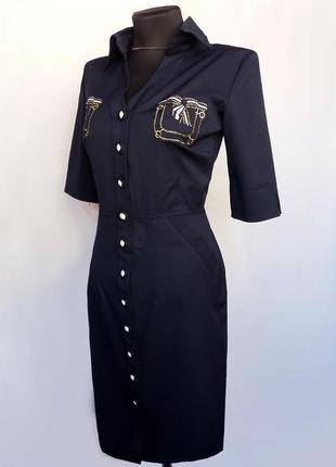 Суперцена. платье с вышитыми карманами, синее. турция. новое, р. 42-563 фото