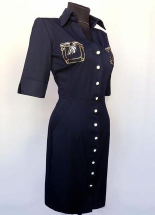 Суперцена. платье с вышитыми карманами, синее. турция. новое, р. 42-564 фото
