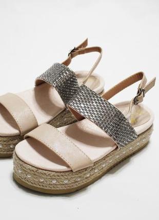 Женские пудровые (бежевые) босоножки (сандалии) на плетеной подошве