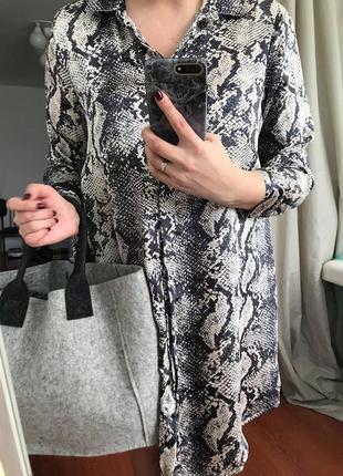 Трендовое платье-рубашка в змеиный принт 20 р.