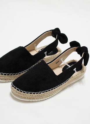 Женские черные закрытые босоножки (сандалии, туфли, балетки) на плетеной подошве