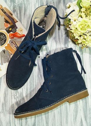 Esprit. замша. стильные зимние ботинки на низком ходу