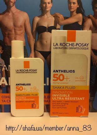 Солнцезащитный ультралегкий флюид для лица la roche-posay anthelios spf 50+ shaka fluid