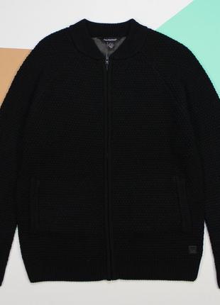 Четкий черный свитер-бомбер в мелкую вязку от cedat wood state