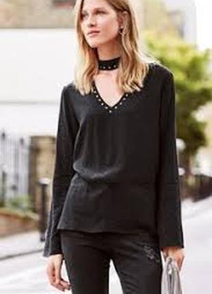Обнова! блуза блузка рубашка с чокером с заклепаками качество