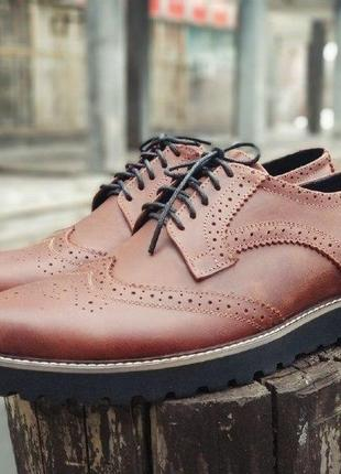 Мужкие стильны, коричневые броги, туфли onyx. кожа 100%  скидка - оплата на карту