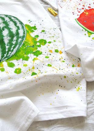 Комплект handmade 🎨(  парні футболочки )смачні кавунчики🍉 всі розміра .2 фото