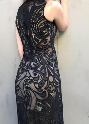 Платье в пол, с эффектом обнаженного тело