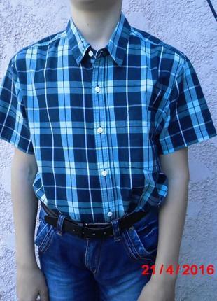 Мальчиковая летняя рубашка в синюю клетку