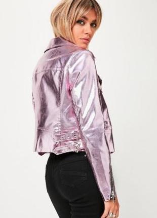Крутая куртка металлик розовая от missguided3 фото