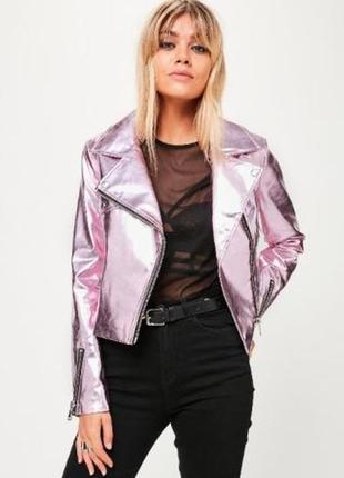 Крутая куртка металлик розовая от missguided4 фото